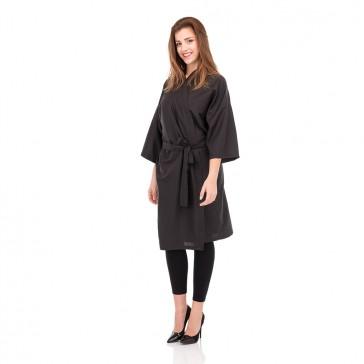 Kimono Nero Per Parrucchieria Con Cintura