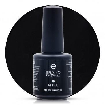 Smalto Semipermanente Nero, Rebel, Nr. 36, 15 ml, Evo Nails