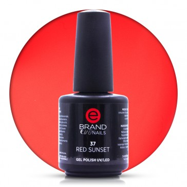 Smalto Semipermanente Rosso Ferrari, Red Sunset, Nr. 37, 15 ml, Evo Nails