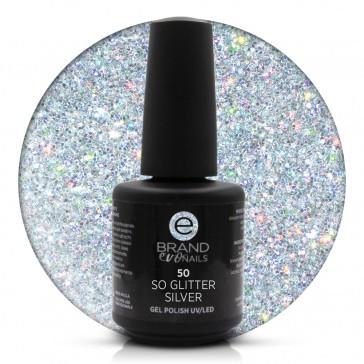 Smalto Semipermanente Argento, So Glitter Silver nr. 50, 15 ml, Evo Nails