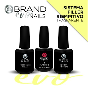 Kit smalti semipermanenti Sistema Filler Riempitivo, Clear, Evo Nails