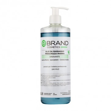 Olio Massaggio Drenante Freschezza Marina ( Quercia marina - Ippocastano - Centella asiatica) Ebrand Cosmetics - Flacone 500 ml