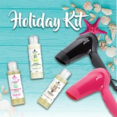 Kit Holiday Phon da Viaggio Nero + Pochette Mini Detergenti Ebrand Hair & Body