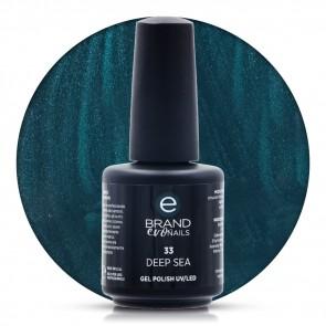 Smalto Semipermanente Verde Petrolio, Deep Sea, Nr. 33, 15 ml, Evo Nails