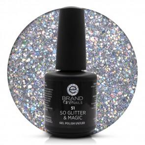 Smalto Semipermanente Trasparente con Glitter Argento So Glitter & Magic nr. 51, 15 ml, Evo Nails
