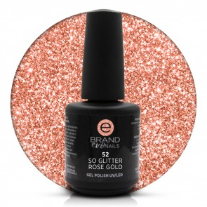 Smalto Semipermanente Oro Rosa Glitterato Rose Gold nr. 52, 15 ml, Evo Nails