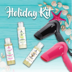 Kit Holiday Phon da Viaggio Rosa + Pochette Mini Detergenti Ebrand Hair & Body