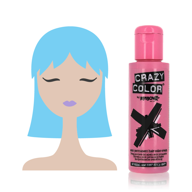 Tinta Semipermanente Colore Azzurro Crazy Color, 63 Bubblegum Blue